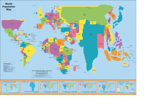 World Population Map * digital license $149 and up ( for publication )