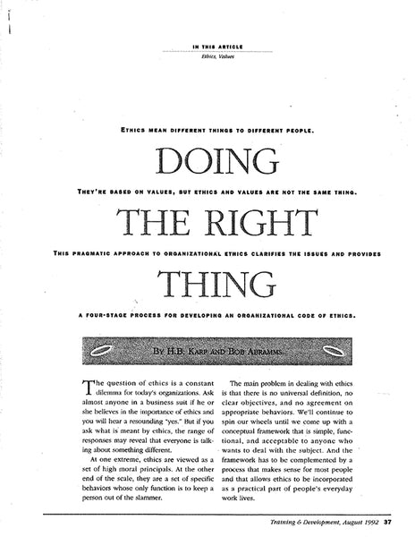 Doing The Right Thing * digital free * (Empowerment ) 5 pages