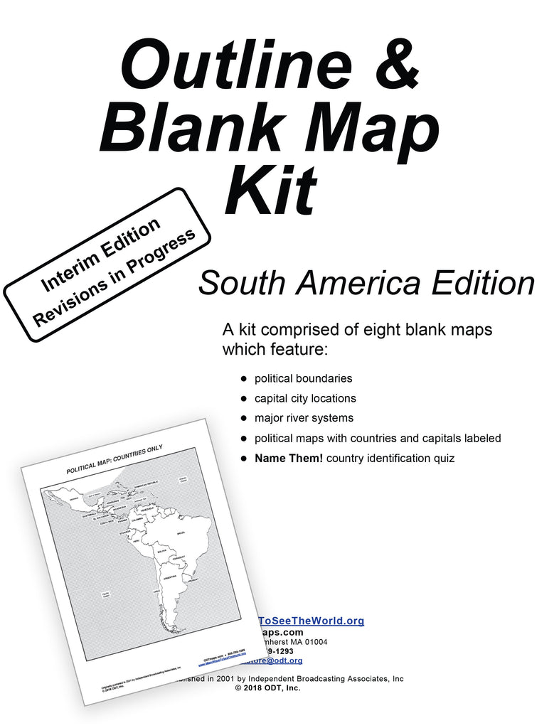 South America: Outline & Blank Map Kit * digital - free * 8 pages
