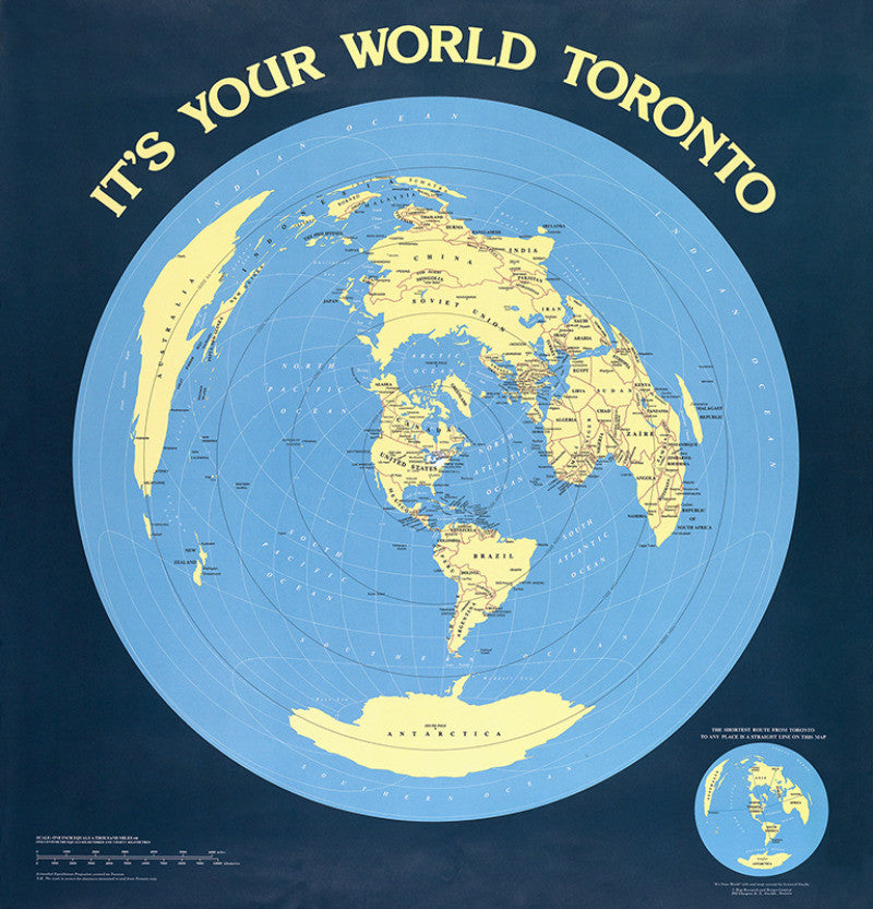 Toronto-centered world map poster