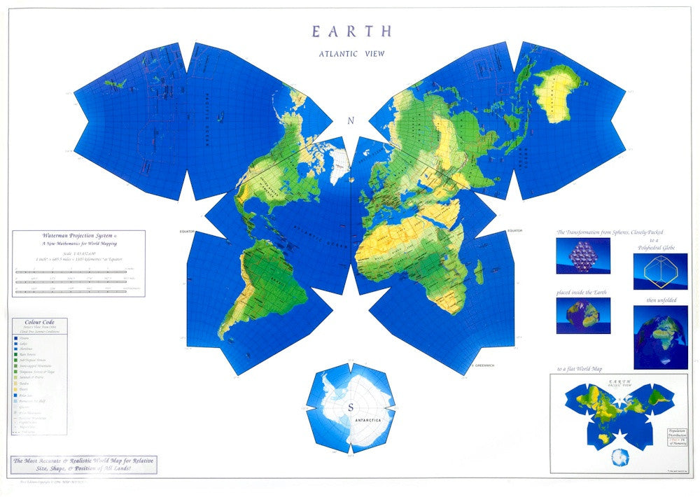 View Map Of The World.Waterman Butterfly V 1 28 5x38 Paper Rolled Map