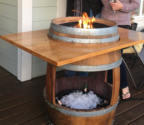 Full Barrel Fire Pit / Cooler / Table