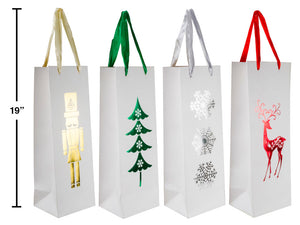 "Gift Bag- Christmas designs 4 style set- 144 per case -19"" height bags"