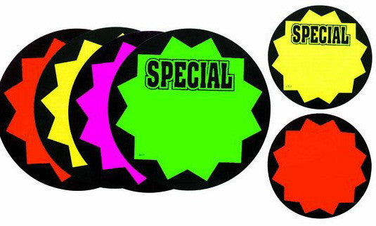 Neon Bright Sign Display Cards -100 per case-Free shipping to Canada & USA- No minimum order!