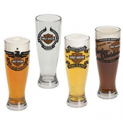 Harley Davidson - Pilsner Glass Set of 4 with Fuel Tank Cap Bottle Opener