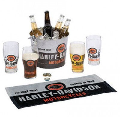 Harley Davidson Party Bucket Set- Bottle openers on each side of bucket