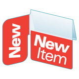 "Shelf Tags ""New Item"" right angle & flat mount- 25 per case"