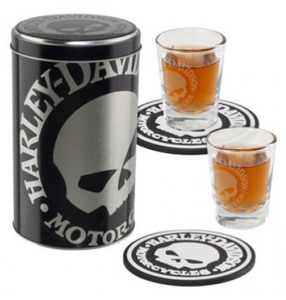 "Harley Davidson Shot Glass Set with ""Skull Canister"""