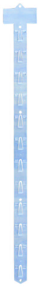 Plastic product merchandiser hanging strips - 25 units per case
