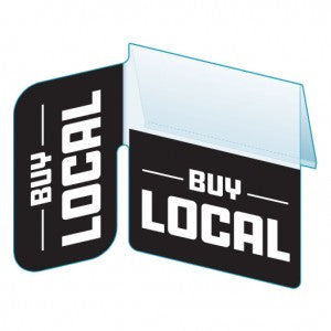 Shelf Tags- Buy Local- 25 tags per case- right angle and flat mount design