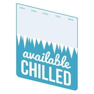 "Shelf Tag-""Available Chilled"" shelf tabs for price channels - 25 per pack-Free shipping in Canada & USA! No minimum order!"