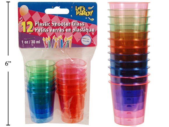 Shot Glass- Plastic multi coloured 1 oz. - 12 per pack -24 per case