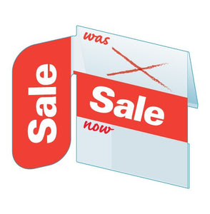 "Shelf Tags ""Was-Sale-Now"" with right angle display-25 per pack-Free shipping to Canada & USA- No minimum order!"