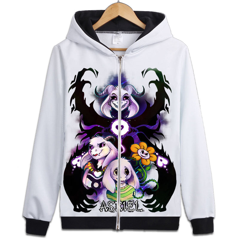 Japan HOT Game Undertale Coat Unisex Skeleton Zipper Hoodies Anime Cosplay