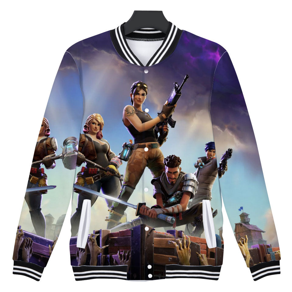 Fortnite Fashion Jacket Casual Baseball Jacket XXS-4XL