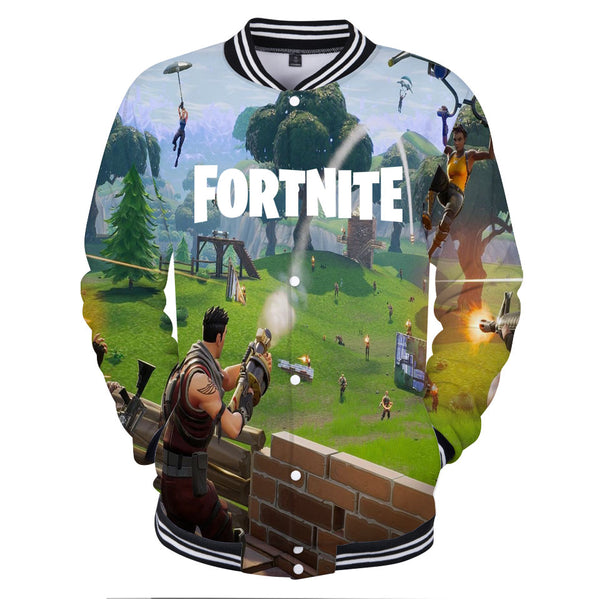 3D Print Autumn Fortnite Fashion Baseball Jacket XXS-4XL