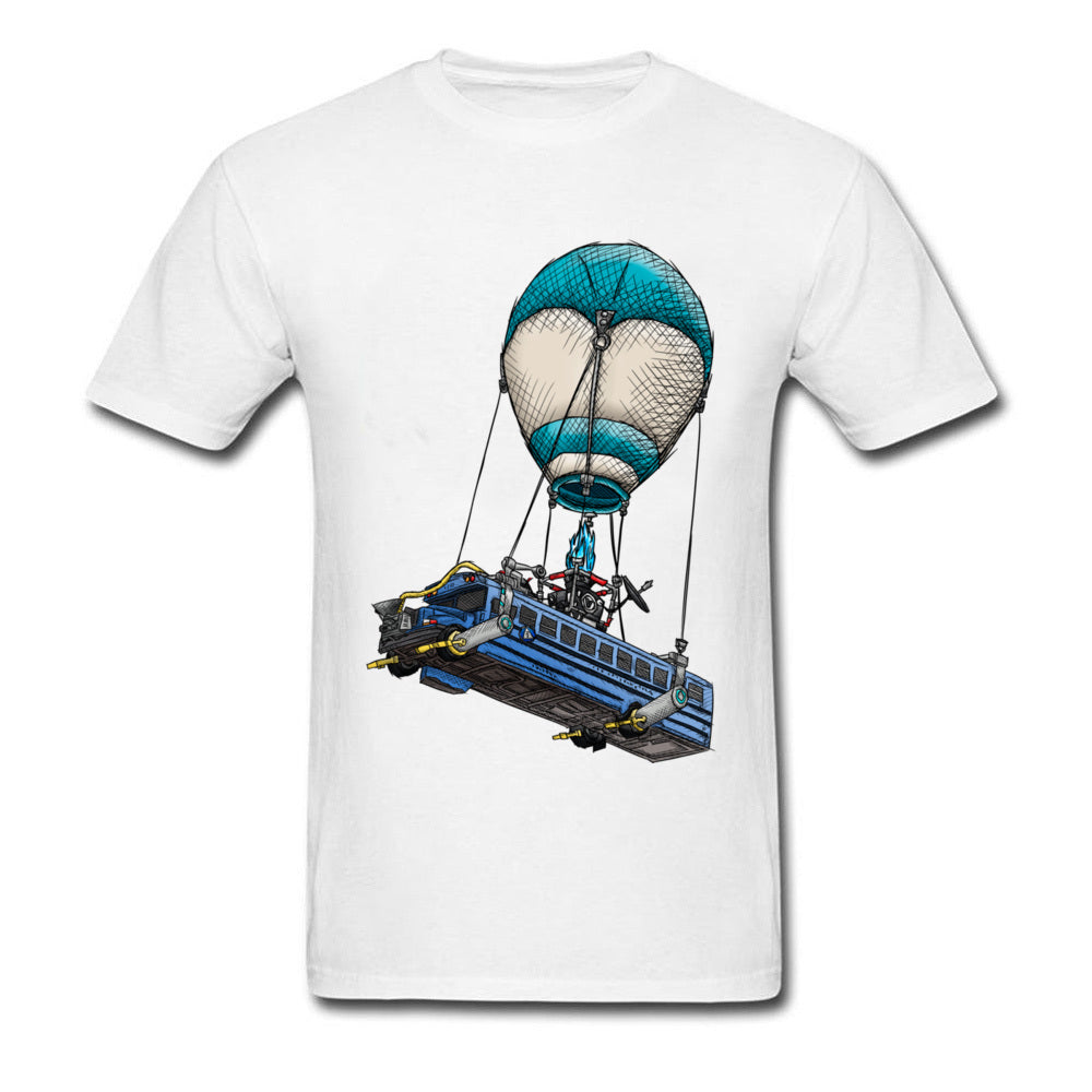 Fortnite T-Shirt Plus Size Men's Fashion Clothing Shirt Hot-Air Balloon Game Print Retro
