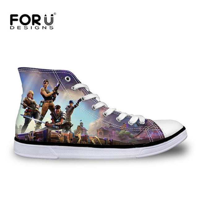 Fortnite Print Casual Canvas Shoes High Top Lace-up Sneakers