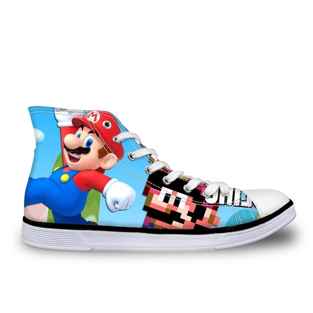 Super Mario Walking Canvas Shoes High Top Lace Up Sneakers
