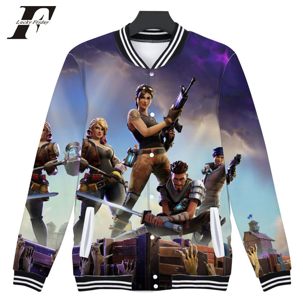 2018 Fortnite 3D Winter Baseball Jacket Button-Up