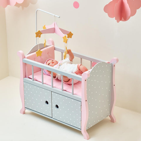 Little Princess 45cm Doll Furniture - Polka Dots Baby Nursery Cot with Cabinet