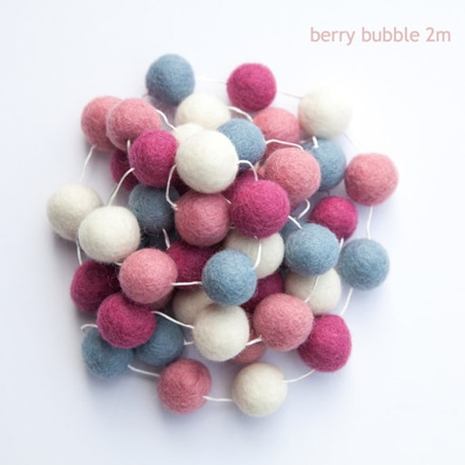 felt garland of round balls, colour berry bubble, shades of cream, grey, pink and dark pink