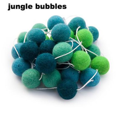 felt garland of round balls, colour jungle bubbles, shades of dark teal, green, bright green, blue