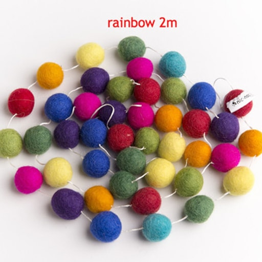felt garland of round balls, colour rainbow, shades of orange, yellow, green, aqua, blue, purple, pink, light green, red