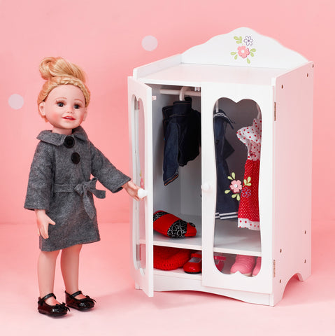 Little Princess 45cm Doll Furniture - Classic Closet with 3 Hangers