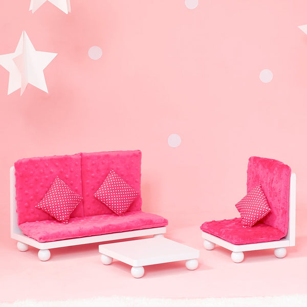 Little Princess 45cm Doll Furniture - Pink Lounge Set