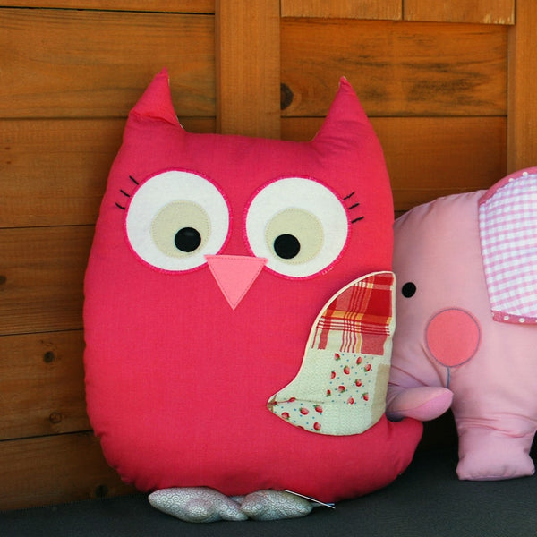 Owl Pink Softie Cuddle Pillow