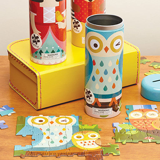 Petit Collage Tin Canister Jigsaw Puzzle - Owl Family