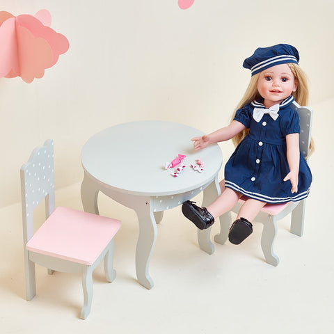 Little Princess 45cm Doll Furniture - Polka Dots Table and 2 Chairs