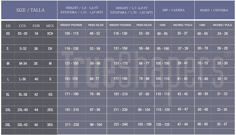 Shapersfit.com Classic Waist Trainer Sizing Chart by TrueShapers