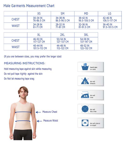 Men's Post Surgical Compression Garments Sizing Chart by Isavela | Shapersfit