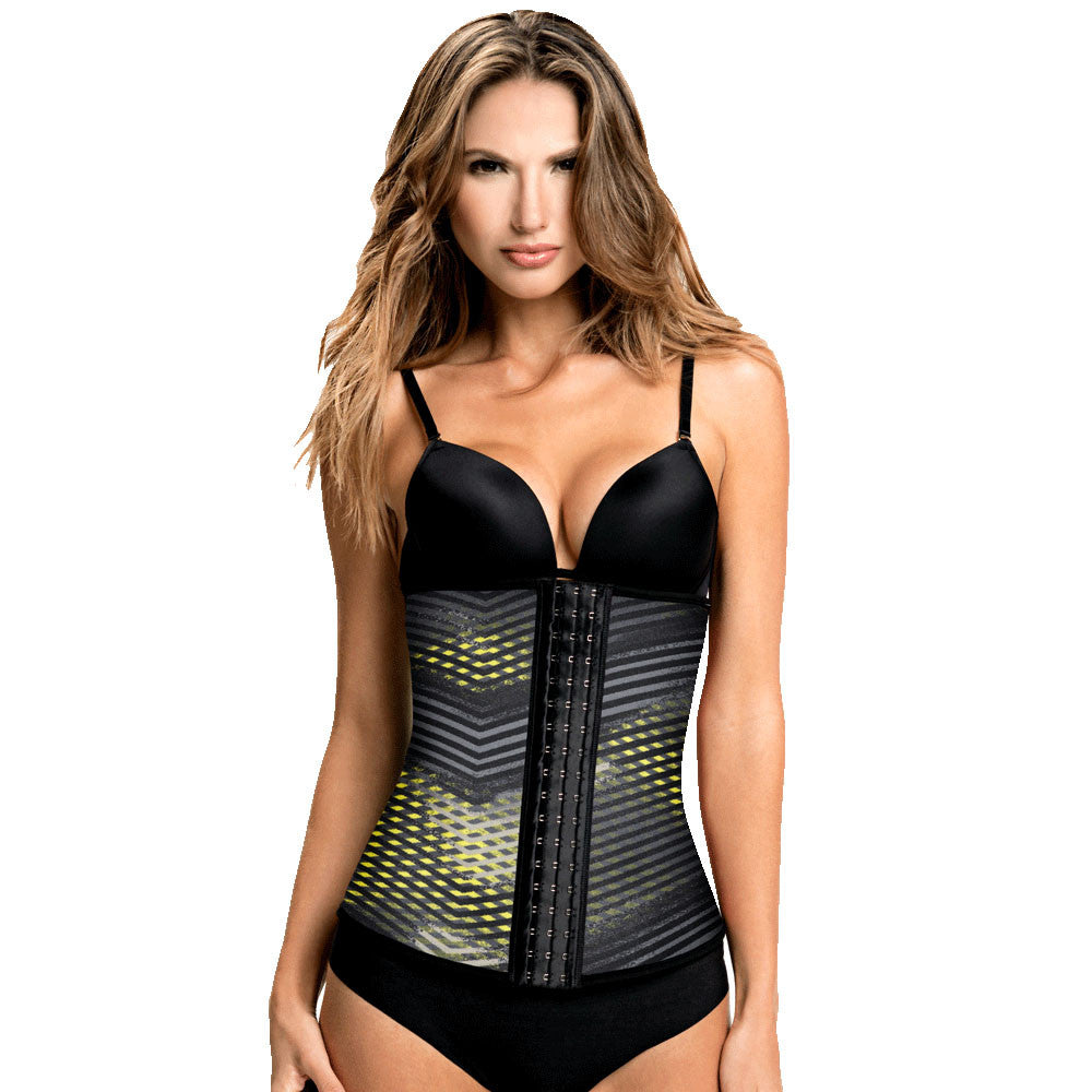 Yellow/Grey Geometric Print Classic High Compression Waist Cincher for Weightloss by TrueShapers® | Shapersfit.com