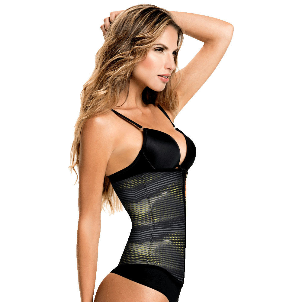 Grey/Yellow Geometric Print Classic High Compression Colombian Waist Shaper by TrueShapers® | Shapersfit.com