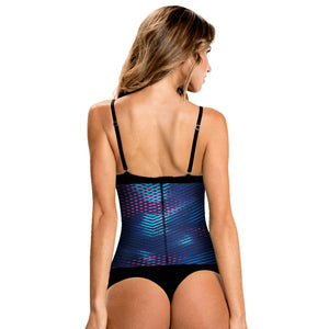 Blue Geometric Print Classic High Compression Plus Size Waist Training Corset by TrueShapers® | Shapersfit.com