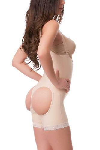 Mid Thigh Length Buttocks Enhancing Compression Girdle with Suspender & Zipper | BE05