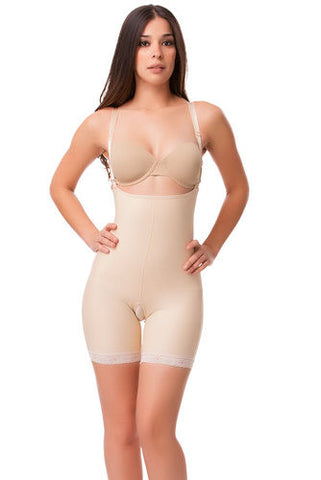 2nd Stage Mid Thigh Length Buttocks Enhancing Body Suit Compression Garment with Suspender | BE06