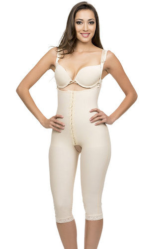 Post Natal Closed Buttocks Enhancing Compression Girdle Below Knee Length with Hook & Eye Front Center | BE11BK