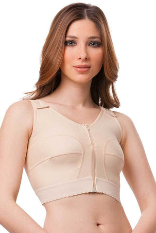 Seeveless Breast Surgery Vest & Bra with 2 inch Elastic Band / Front Zipper | BR05