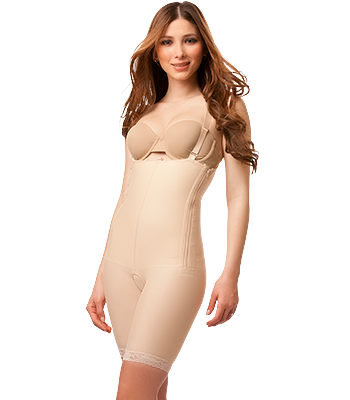 Mid Thigh Length Body Suit Plastic Surgery Compression Garment with Suspender & Zipper | BS03