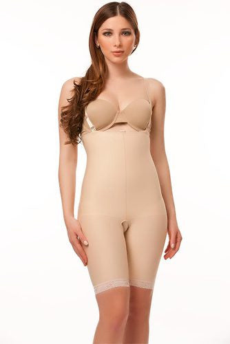 2nd Stage Mid Thigh Length Body Suit Plastic Surgery Compression Garment with Suspender | BS04