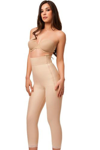 High Waist Abdominal Compression Garment | Below Knee Length with Zippers