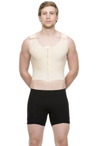 Mens Short Abdominal Cosmetic Surgery Compression Vest with Zipper | MG03-SH