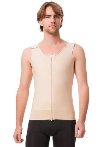 Mens Abdominal Cosmetic Surgery Compression Vest with Zipper | MG03
