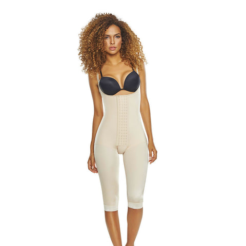 Open Bust Below Knee Body Shaper with Hook & Eye Closure by TrueShapers®