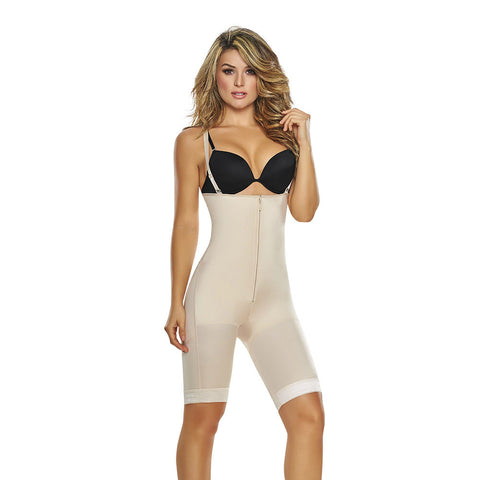 Open Bust Mid Thigh Butt Lifter Body Shaper with Front Zipper by TrueShapers®