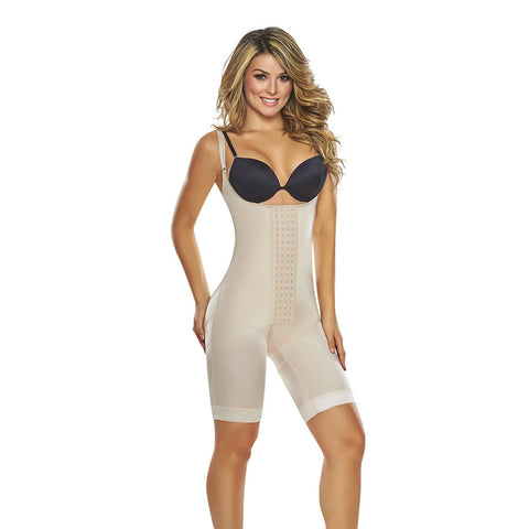 Open Bust Mid-Thigh Body Shaper with Hook & Eye Closure by TrueShapers®
